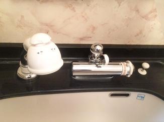 小工事 洗面台はそのままに水栓は美しく